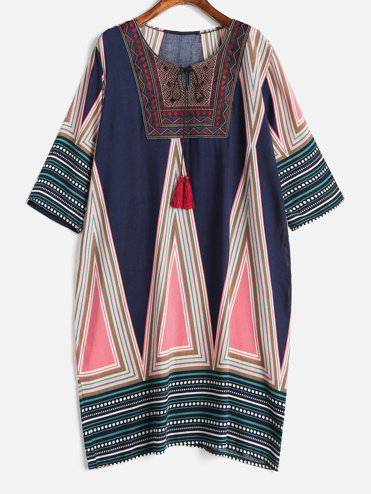 Плюс Размер Tribal Print Tassels Shift Dress