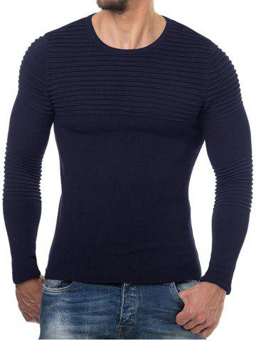 Solid Color Pleated Long Sleeve Sweater