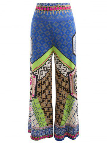 High Waisted Tribal Print Wide Leg Pants