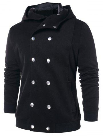 Double Breasted Solid Color Hooded Coat