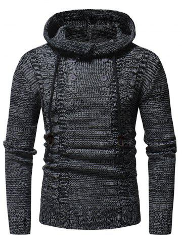 Half Button Hooded Pullover Sweater