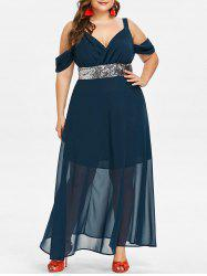 Plus Size Sequins Cold Shoulder Maxi Dress -