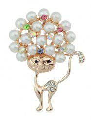 Kitty Brooch With Faux Pearl -