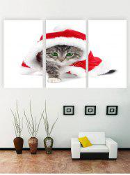 Unframed Christmas Cat Printed Canvas Paintings -