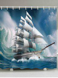 Wave Sailboat Print Waterproof Shower Curtain -