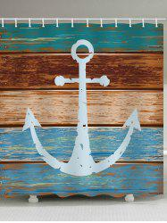 Anchor Wooden Pattern Waterproof Shower Curtain -