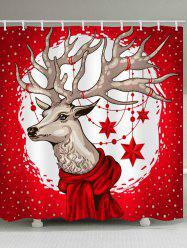 Christmas Deer Print Waterproof Shower Curtain -