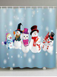 Snowman Snowflake Print Waterproof Shower Curtain -