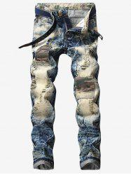 Destroyed Faded Wash Camouflage Panel Jeans -