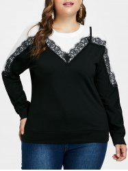 Plus Size Lace Eyelash Sweatshirt -