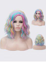 Medium Side Parting Colorful Rainbow Natural Wavy Synthetic Wig -