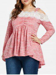 Plus Size Scalloped Lace Trim Cold Shoulder T-shirt -