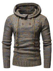 Half Button Hooded Pullover Sweater -