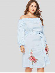 Ruffle Trim Plus Size Floral Embroidery Knee Length Dress -