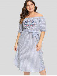 Off The Shoulder Plus Size Embroidery Striped Dress -