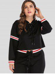 Lace Up Plus Size Striped Hoodie -