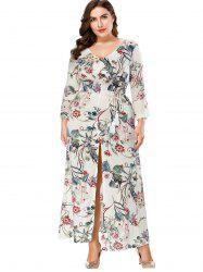Plus Size Print V Neck Maxi Dress -