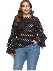 Plus Size Layered Sleeve Polka Dot Blouse -