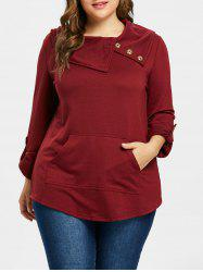 Plus Size Button Detail Tunic Top -