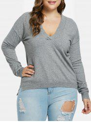Plus Size Low Cut Sweater -