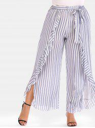Striped Plus Size Ruffle Wide Leg Pants -