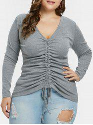 Plunging Neck Plus Size Drawstring Ruched T-shirt -