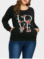 Plus Size Love Rose Print Sweatshirt -