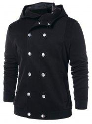 Double Breasted Solid Color Hooded Coat -