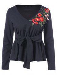 Floral Embroidery Full Sleeve V Neck T-shirt -
