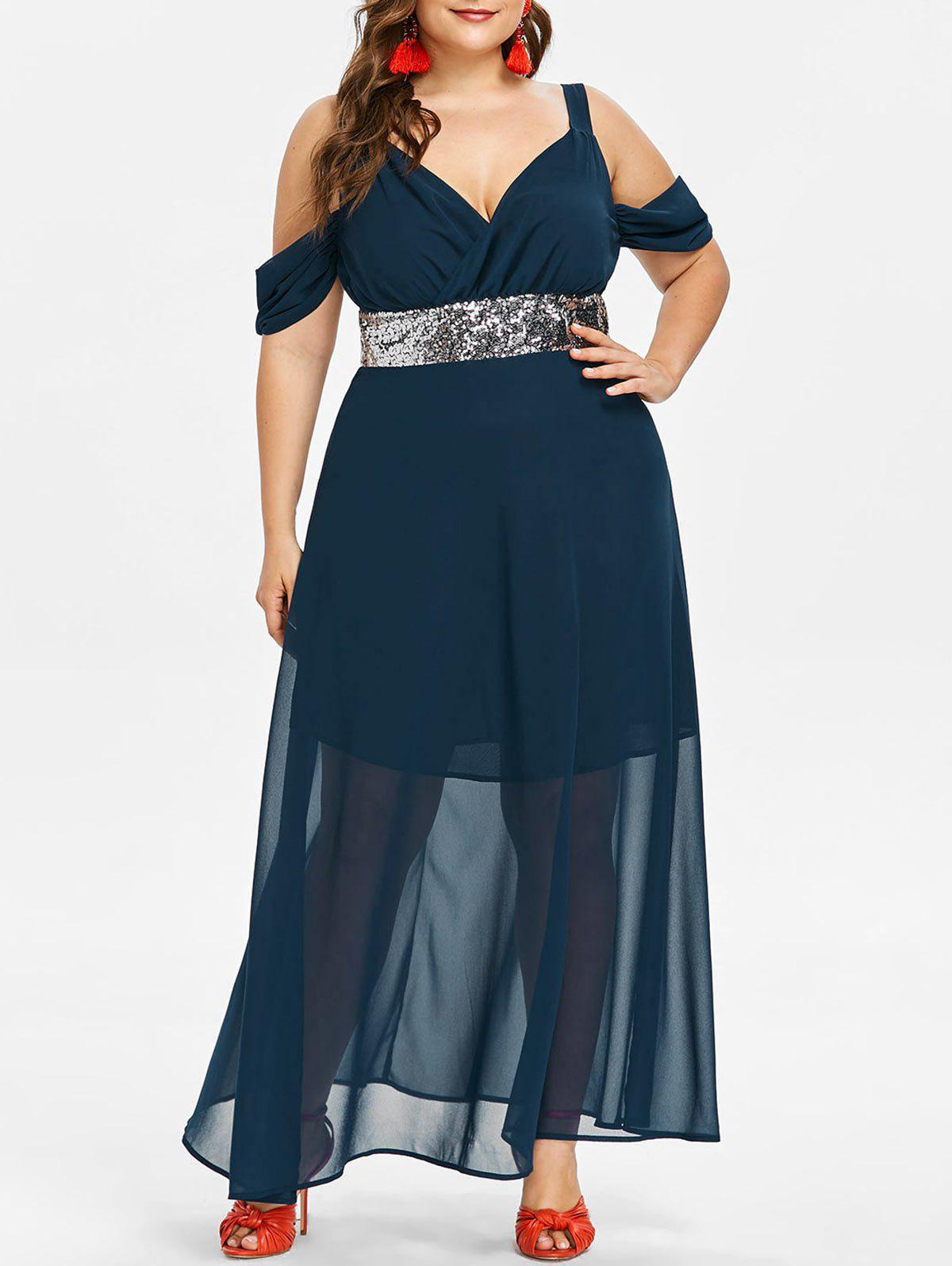 New Plus Size Sequins Cold Shoulder Maxi Dress