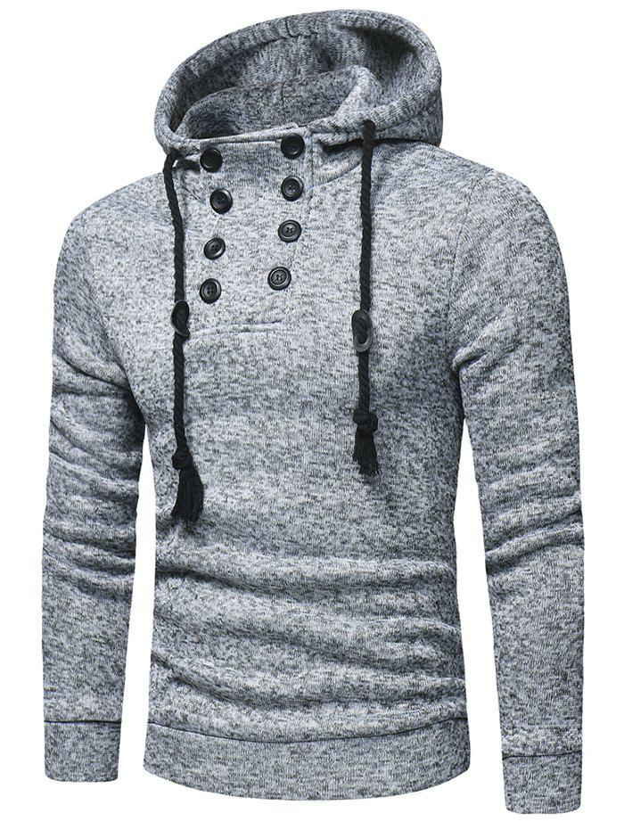 Trendy Space Dye Half Button Hoodie