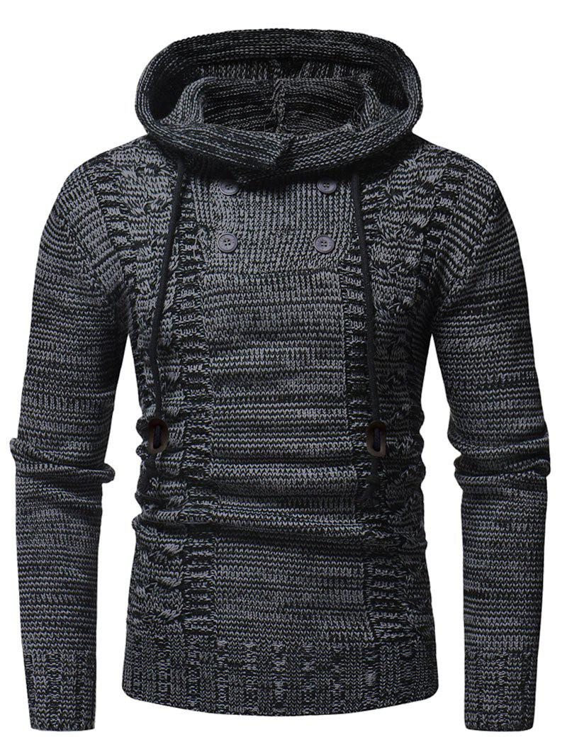 Hot Half Button Hooded Pullover Sweater
