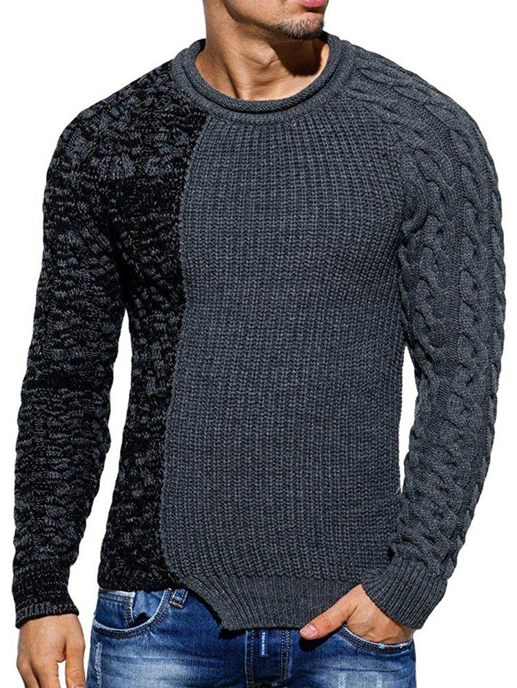 Cheap Slim Fit Spliced Pullover Sweater