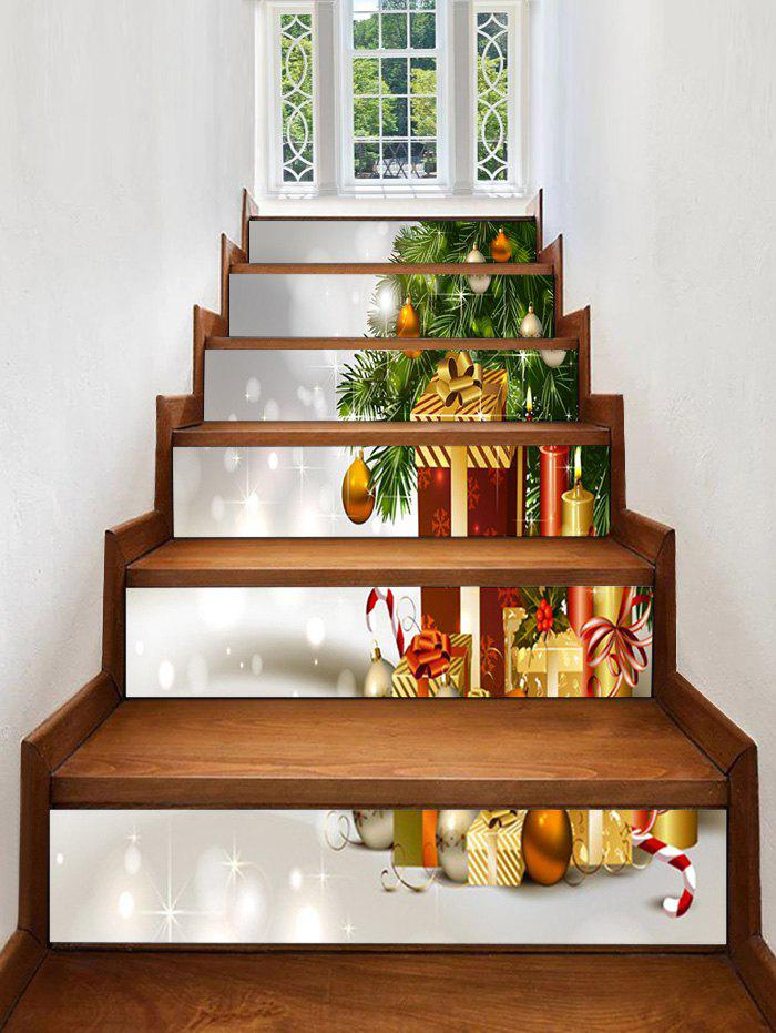 Fancy Christmas Tree with Gifts Print Decorative Stair Stickers