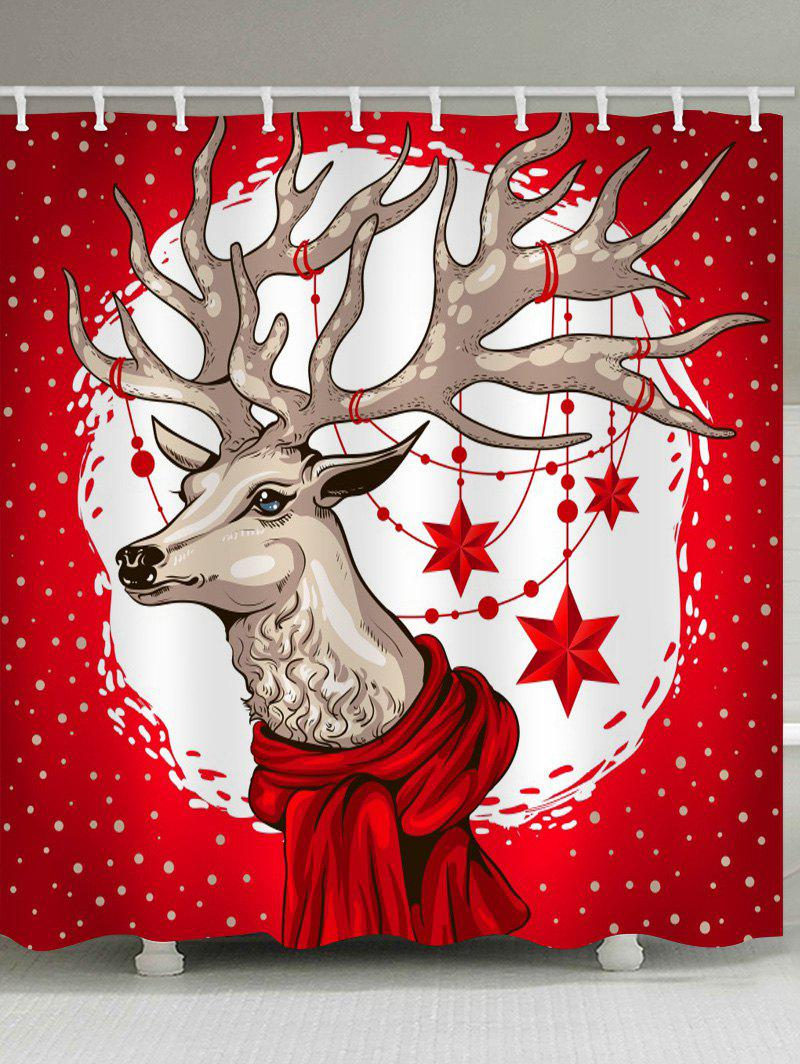 Best Christmas Deer Print Waterproof Shower Curtain