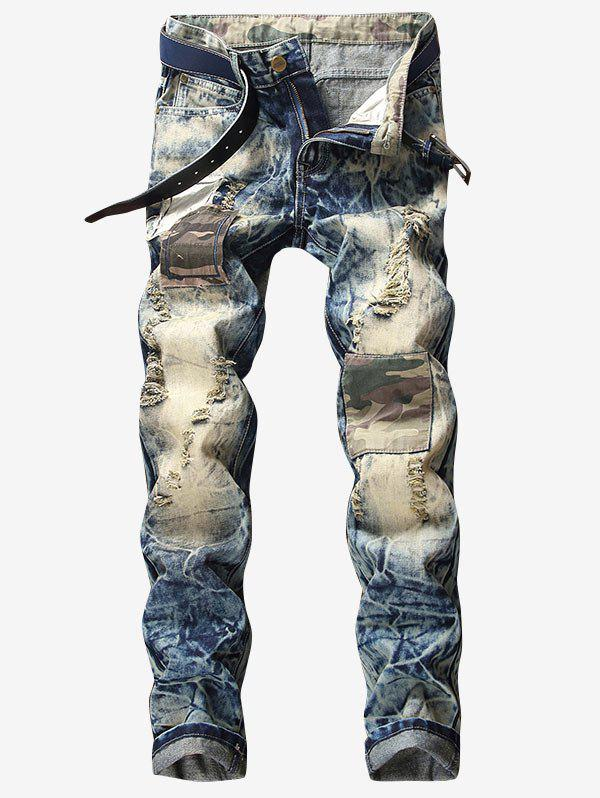 Online Destroyed Faded Wash Camouflage Panel Jeans