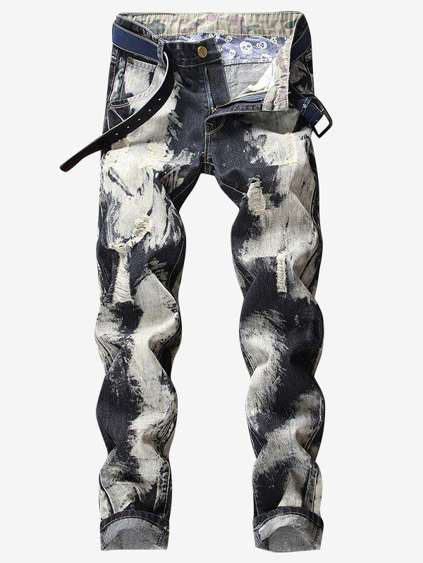 Fancy Destroyed Zip Fly Paint Tapered Jeans