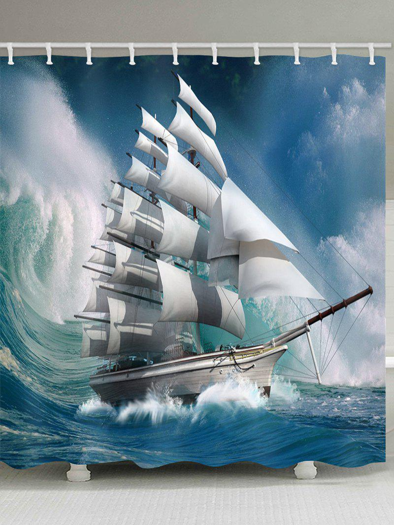 Cheap Wave Sailboat Print Waterproof Shower Curtain