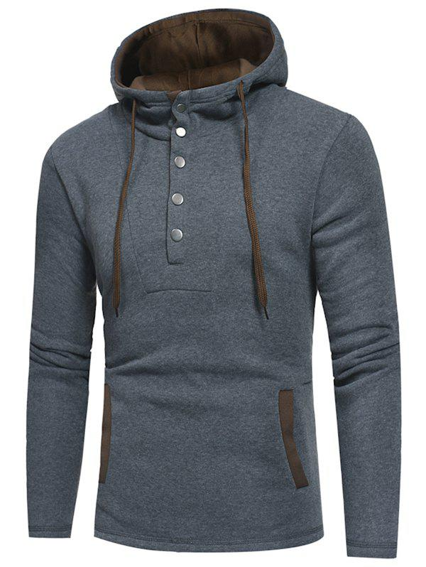 Outfits Half Button Color Block Drawstring Hoodie