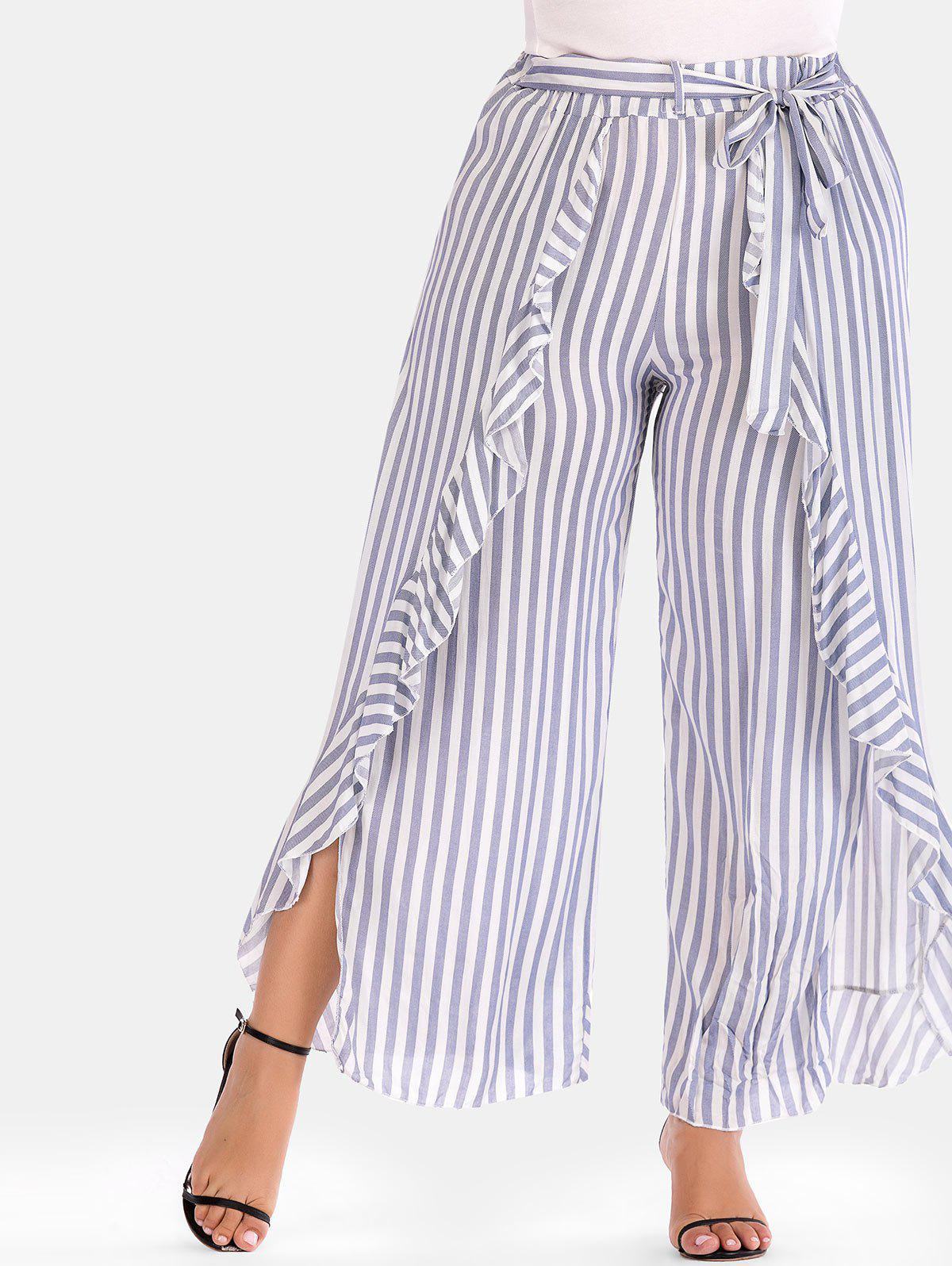 Unique Striped Plus Size Ruffle Wide Leg Pants