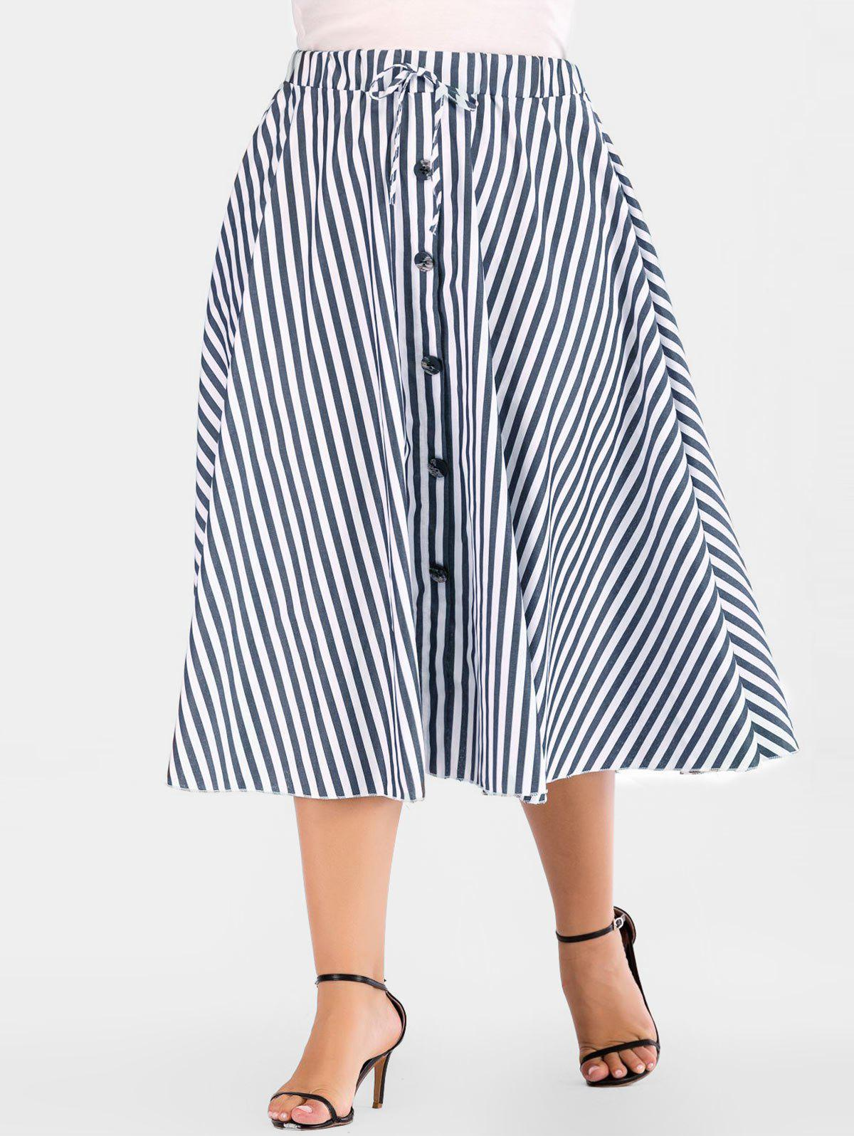 Affordable Button Embellished Plus Size Mid Calf Skirt
