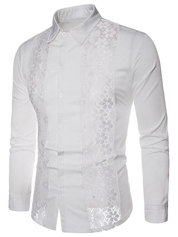 Discount Lace Patchwork Solid Color Shirt