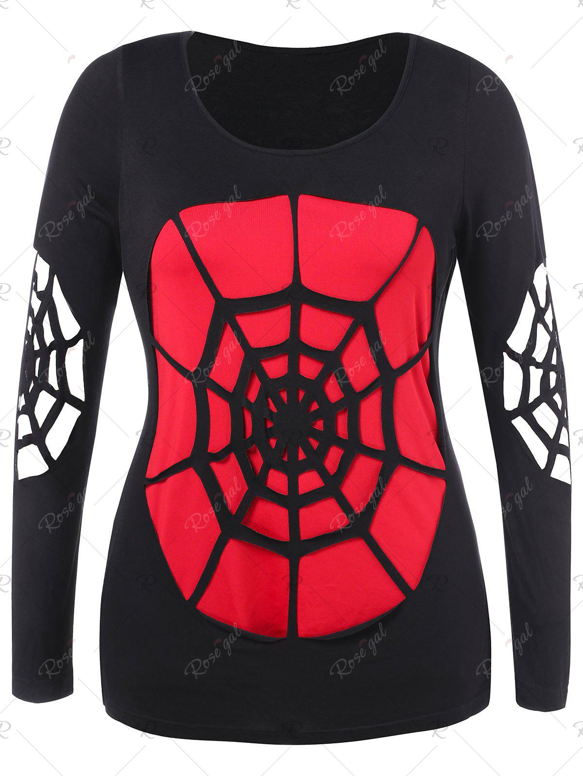 Outfits Plus Size Halloween Openwork Spider Web T-shirt