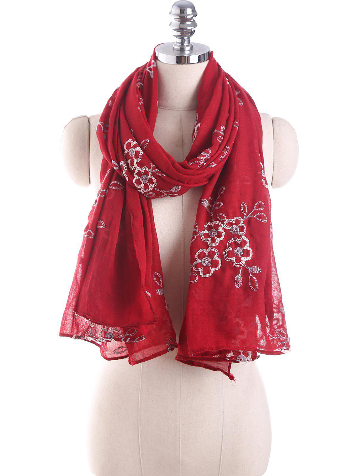 Shop Ethnic Flower Embroidery Design Shawl Scarf