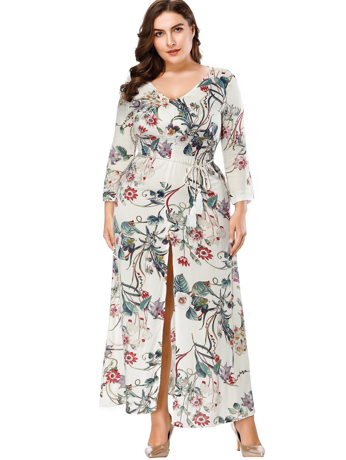 Shop Plus Size Print V Neck Maxi Dress