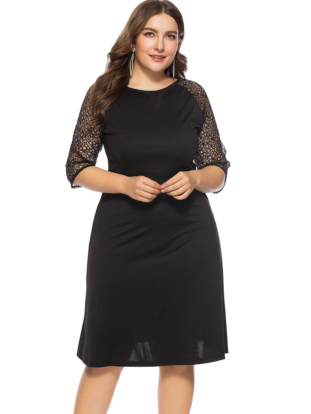44% OFF] Plus Size Lace Knee Length Dress | Rosegal
