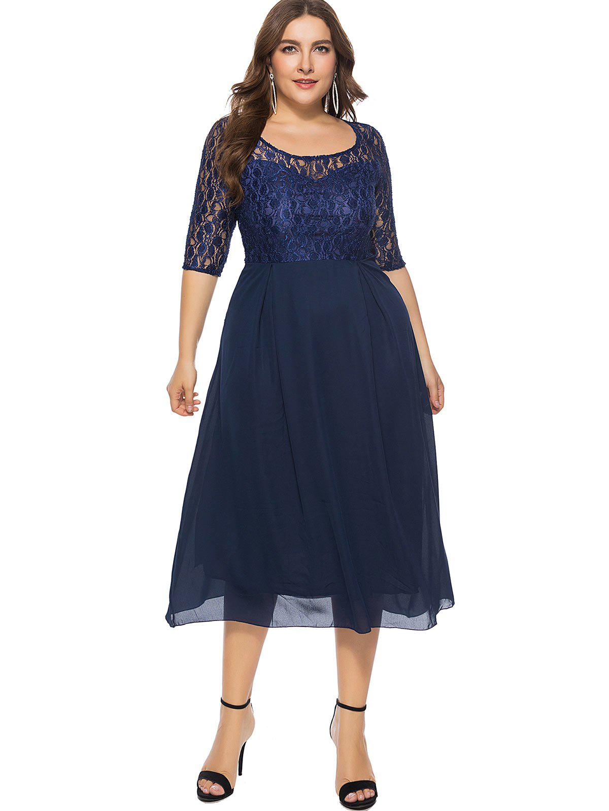 Online Plus Size Lace Panel Midi Dress