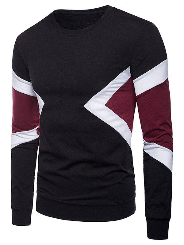 Cheap Splicing Long Sleeve Casual Tee