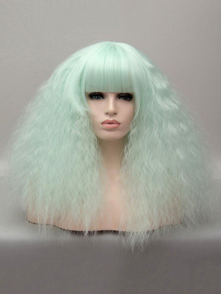 Chic Medium Neat Bang Corn Hot Curly Party Cosplay Synthetic Wig