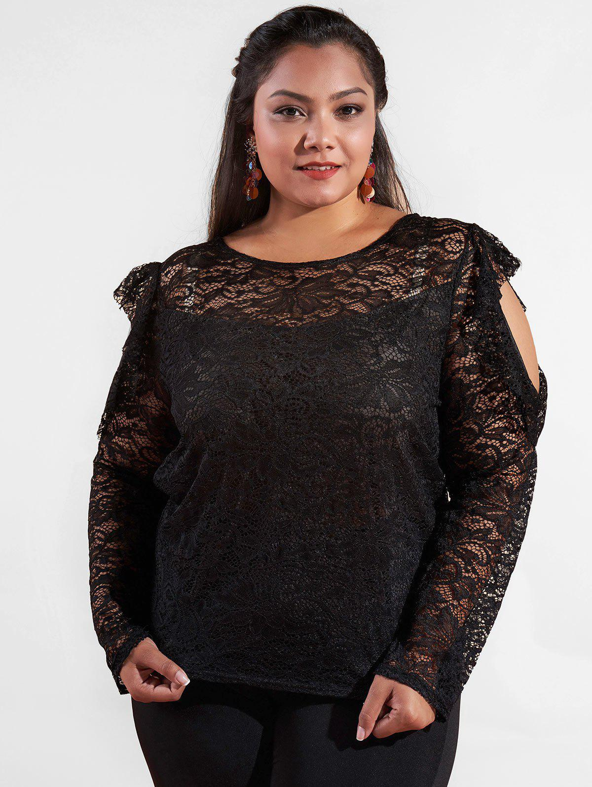 Chic Cut Out Shoulder Plus Size Ruffle Lace Top